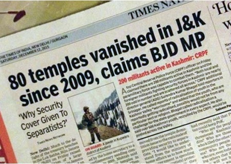 In J&K, 80 Temples vanished since 2009