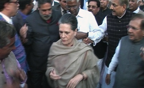 Sonia Gandhi in a Protest March