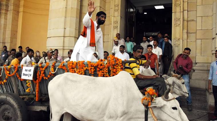 BJP MLA In UP Arrives In Bullock Cart- Only In India