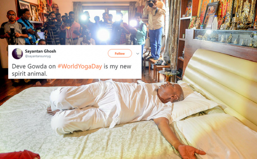 Yoga In Bed - Our Former PM's Way On Yoga Day...