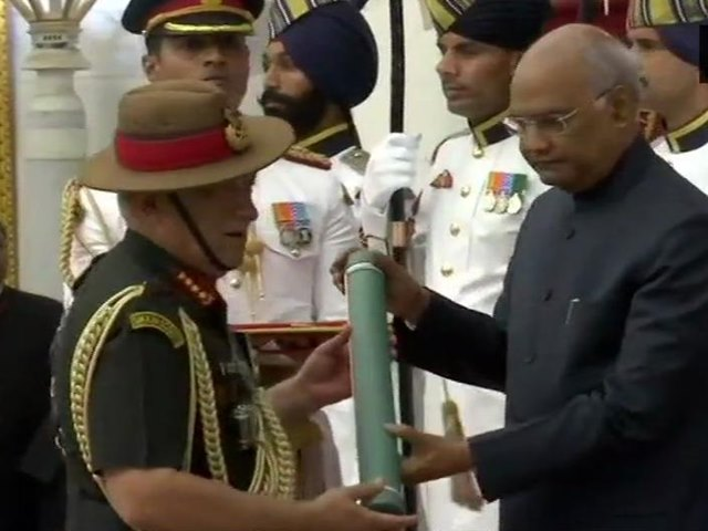 Army Chief General Bipin Rawat conferred with Param Vishisht Seva Medal by President Ram Nath Kovind, at Rashtrapati Bhawan, today.our voice, we r India