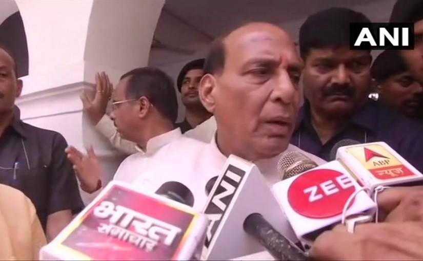 Rajnath Singh reacts to questions after MHA's notice to Rahul Gandhi