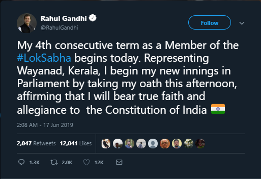Rahul Gandhi tweets to indicate his participation in the Parliament