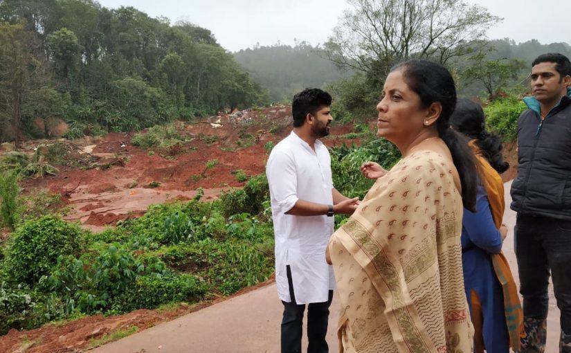 Nirmala Sitharaman visits flood-affected areas in Karnataka