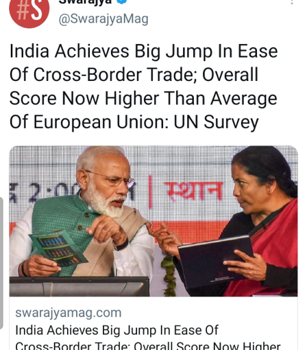 India Achieves Big Jump In Ease Of Cross-Border Trade; Overall Score Now Higher Than Average Of European Union: UN Survey