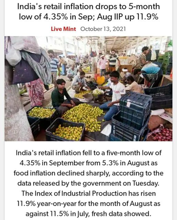 India's Retail Inflation Drops To 5-month Low Of 4.35% In Sep; Aug IIP Up 11.9%