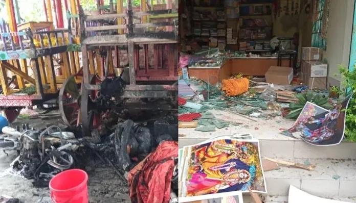 No Protection For Hindus And Hindu Temples In Bangladesh 400-500 strong Muslim mob in Bangladesh targets ISKCON temple, kill 2